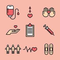 Geschetst het doneren van bloed pictogrammen