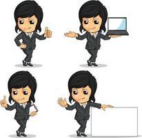 vrouw kantoor werknemer zakenvrouw mascotte cartoon vector tekening