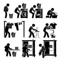 wasserij werkt kleren wassen pictogram vector