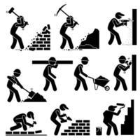 bouwers constructeurs arbeiders bouwen van huizen met gereedschappen en uitrusting op de bouwplaats. vector