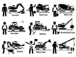 bouwvoertuigen transport en werknemer set. vector