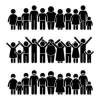 groep gelukkige kinderen permanent glimlachend en verhogen handen stok figuur pictogram pictogrammen. vector