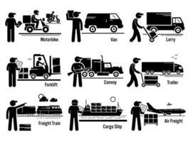 logistieke transportvoertuigen ingesteld. vector