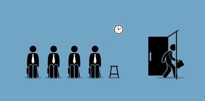 sollicitatiegesprek kandidaten wachten buiten de kamer en een kandidaat loopt door de deur. vector