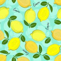 citroen patroon. naadloze decoratieve achtergrond met gele citroenen. helder zomerontwerp op een zeegroene kleurenachtergrond.
