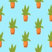 naadloze patroon met potplanten vector