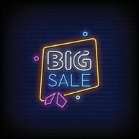 grote verkoop neonreclames stijl tekst vector