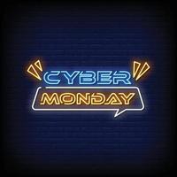 cyber maandag neonreclames stijl tekst vector