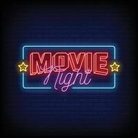 film nacht neonreclames stijl tekst vector