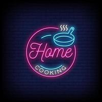 thuis koken neonreclames stijl tekst vector