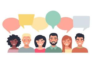 avatars van mensen met tekstballonnen. communicatie van mannen en vrouwen, pratende illustratie. team, conferentie, werk, feedback. vectorillustratie in vlakke stijl.