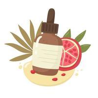 een fles granaatappelzaadolie en granaatappel. huidverzorging. vectorillustratie in platte cartoon stijl.