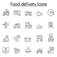 voedsel levering pictogrammen instellen in dunne lijnstijl