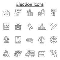 verkiezingspictogrammen in dunne lijnstijl vector