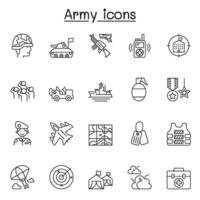 set leger gerelateerde vector lijn iconen. bevat pictogrammen als soldaat, tank, slagschip, straalvliegtuig, oorlog, aanval, invasie, bom, geweer, radar en meer.