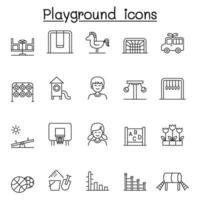 speeltuin pictogrammen instellen in dunne lijnstijl