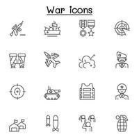 set van oorlog gerelateerde vector lijn iconen. bevat pictogrammen als soldaat, leger, leger, marine, luchtmacht, bom, slagschip, vliegtuig en meer
