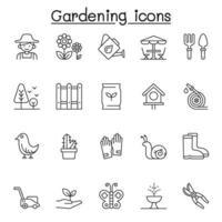 set van tuinieren gerelateerde vector lijn iconen. bevat pictogrammen als tuinman, handschoen, grasmaaier, plant, vlinder, bemesting, zaaien, laars, schop, gieter en meer
