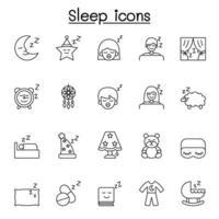 slaap pictogrammen instellen in dunne lijnstijl