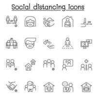 sociale afstand pictogrammen instellen in dunne lijnstijl vector