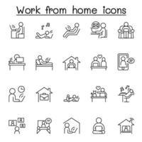 thuis werken pictogrammenset in dunne lijnstijl
