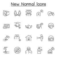 nieuwe normale levensstijl pictogrammenset in dunne lijnstijl vector
