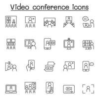vergadering en videoconferentie pictogrammenset in dunne lijnstijl