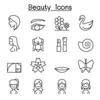 schoonheid pictogrammenset in dunne lijnstijl