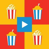 popcorn, drankje en film vlakke afbeelding vector