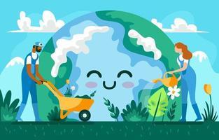 mensen die op dag van de aarde voor het milieu zorgen vector