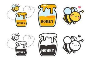 schattige bijen cartoon karakter vector zeshoek honingraat en bloem geïsoleerd op een witte achtergrond.