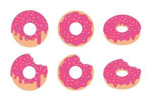 vector roze donut aardbeiensmaak set