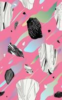kristal, geode, steen en penseelplonselement, eenvoudige vlakke stijlvector, naadloos patroon vector
