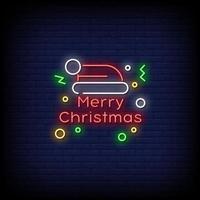 vrolijk kerstfeest neonreclames stijl tekst vector