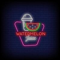watermeloen sap neonreclames stijl tekst vector