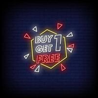 koop er een en krijg er een gratis tekstvector in neonreclamestijl