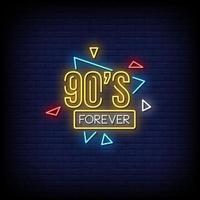 90's voor altijd neonreclames stijl tekst vector