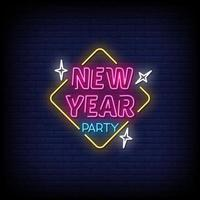 nieuwjaarsfeest neonreclames stijl tekst vector
