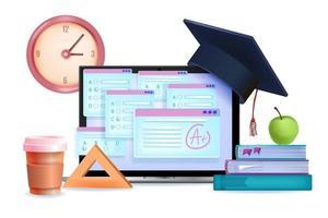 online examen, digitale test, internet poll onderwijs 3d concept