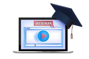 online videowebinar, internettraining, virtuele lezing, zelfstudieconcept vector