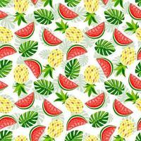 zomerfruit en bladeren naadloos patroon. ananas, watermeloen, monstera en aardbei vector print. textuur voor afdrukken op zomersextiel en telefoonhoesje.