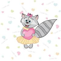grappige lachende wasbeer verliefd op roze hart. Valentijnsdag briefkaart. vector