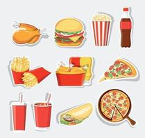 fast food set, geïsoleerde vector fastfood iconen