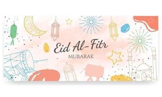 eid al fitr mubarak, met de hand geschilderd in pastelkleuren. doodle stijl. horizontale poster, wenskaart, koptekst voor website vector
