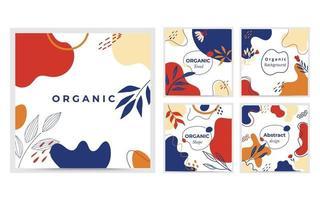 organische vormcollectie. minimale dekking en achtergrond. sociale mediapost en sjabloon met organische vorm. abstract ontwerp. hand getekend. vector illustratie.