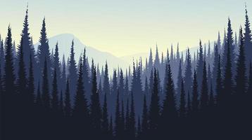vector berglandschap met dennenbos, mistig en mist conceptontwerp.