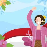 Indonesische vrouw die in traditionele kleding kartini-dag viert