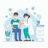 een arts die een coronavirusvaccin geeft voor immuniteit vector