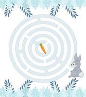 doolhofspel voor thuisonderwijs kinderen. circulaire doolhof puzzel taak. winter vrijetijdsbesteding raadselvorm, zoek het juiste pad. vector