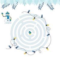 doolhofspel voor thuisonderwijs voor kinderen. circulaire doolhof puzzel taak. winter vrijetijdsbesteding raadselvorm, zoek het juiste pad. vector